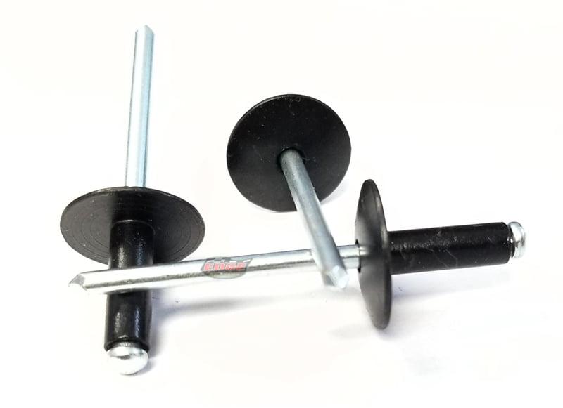 Flat Black Steel Mandrel Pop Rivets 250ct Racers Speed Shop 3//16 Small Head Peel-Back Aluminum