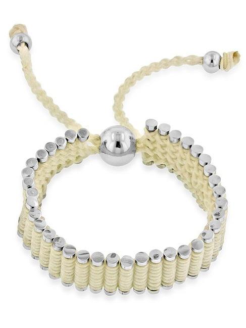 "Stainless Steel & Ivory Cord Adjustable Friendship Bracelet - 7"""
