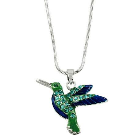 Hummingbird Pendant Necklace Rhinestone Crystal Rhodium High Polished