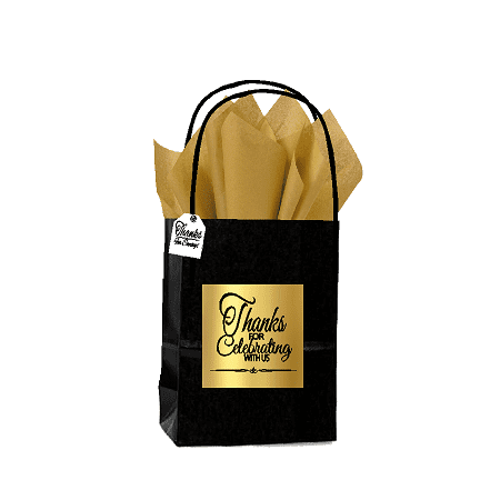 Black & Gold Thanks for Celebrating Themed Birthday Wedding Occasion Small Party Favor Gift Bags Tags -12pack