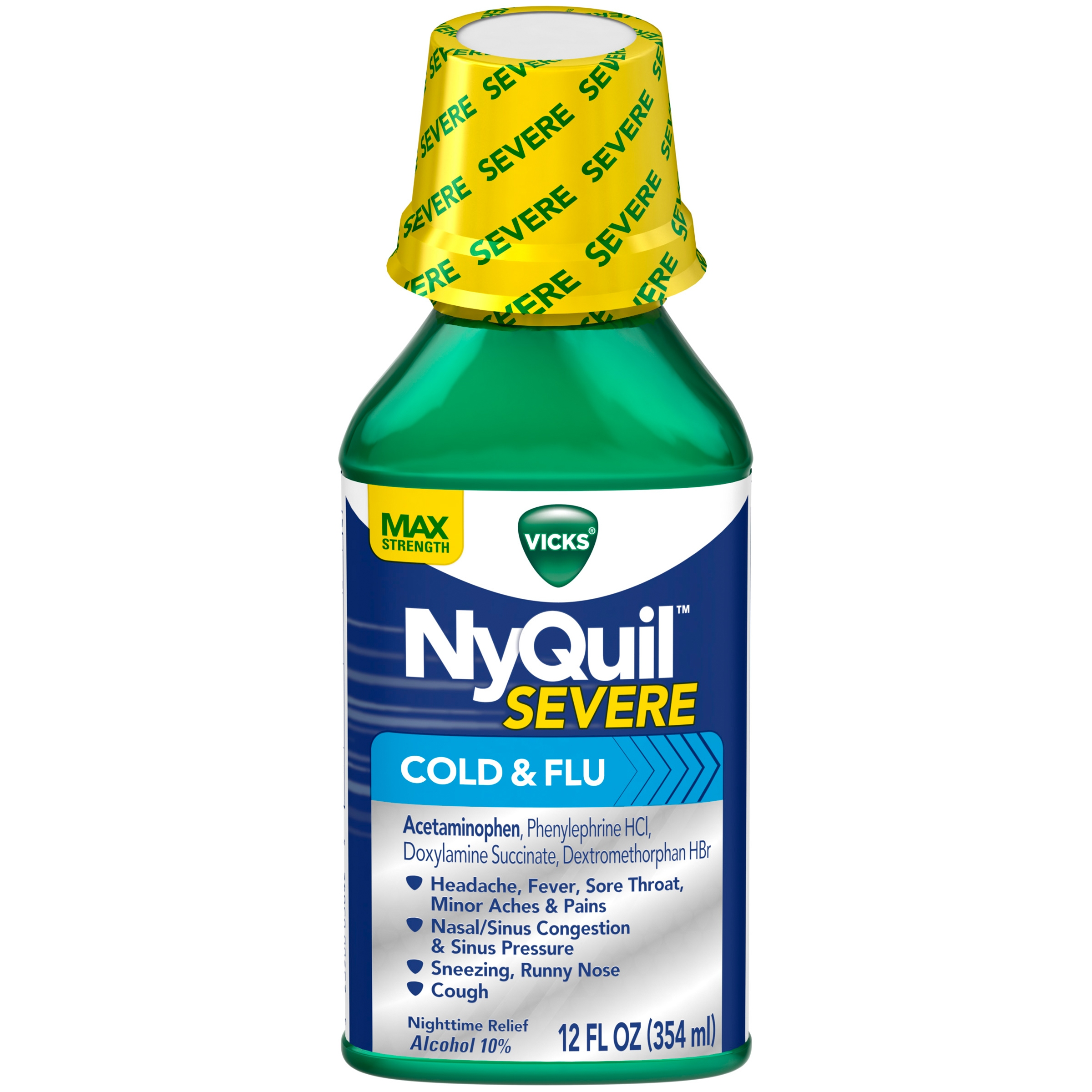 Get Rid Of Strong Coughs In Vicks� Nyquil� Severe Cold & Flu Nighttime  Relief