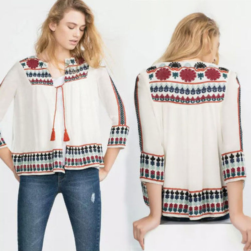 Coolingup Women Ethnic Loose Tops Long Sleeve Tassels Bandage Cardigan Casual Blouse M L XL