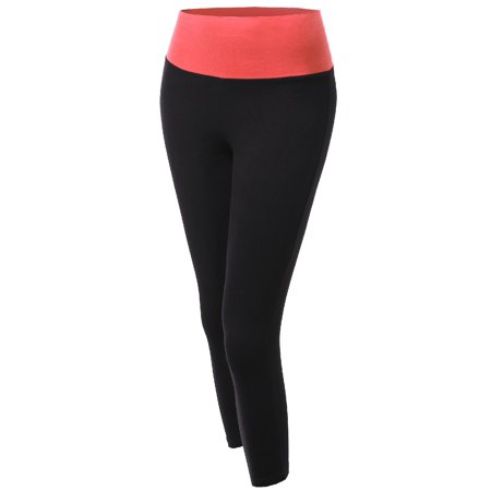a1a391a25ce3d FashionOutfit - FashionOutfit Women's 3/4 Length Color Contrast Fold Over  Waistband Yoga Pants - Walmart.com