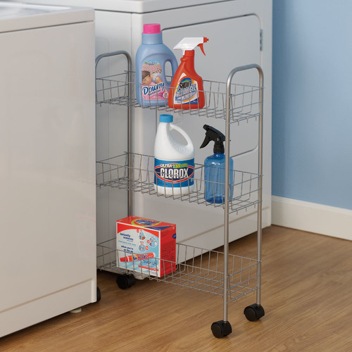 Household Essentials 3-Tier Storage Cart, Satin Silver