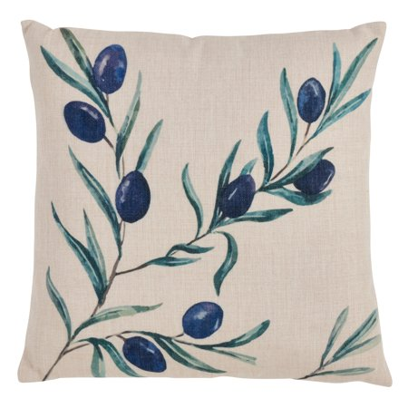 Saro Lifestyle  Olive Branch Print Multicolored 18-inch Throw Pillow