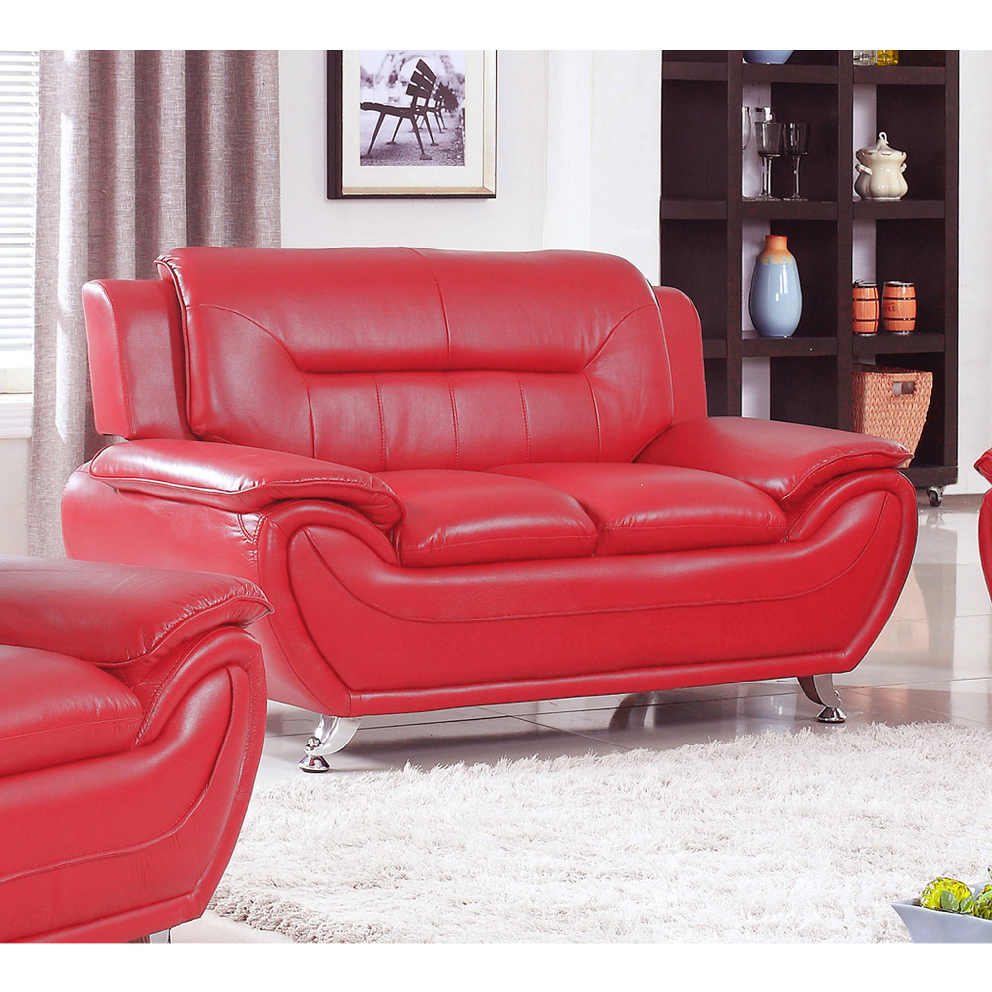 UFE Norton Red Faux Leather Modern Living Room Loveseat