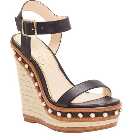 Jessica Simpson Aeralin Black Leather High Studded Platform Wedge Sandals -