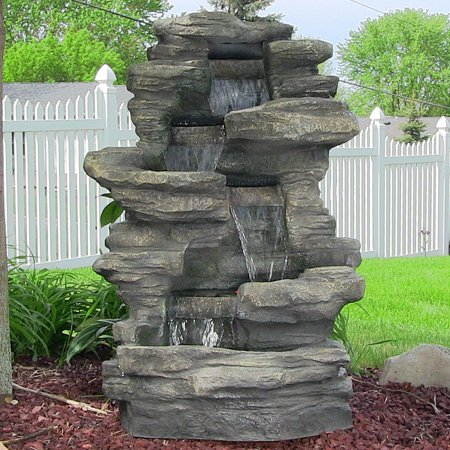 Sunnydaze stacked shale electric outdoor waterfall fountain with led sunnydaze stacked shale electric outdoor waterfall fountain with led lights 38 inch tall workwithnaturefo