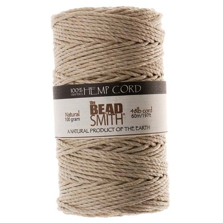 100% Hemp (Beadsmith Natural Hemp Twine Bead Cord 2mm / 197 Feet (60 Meters))