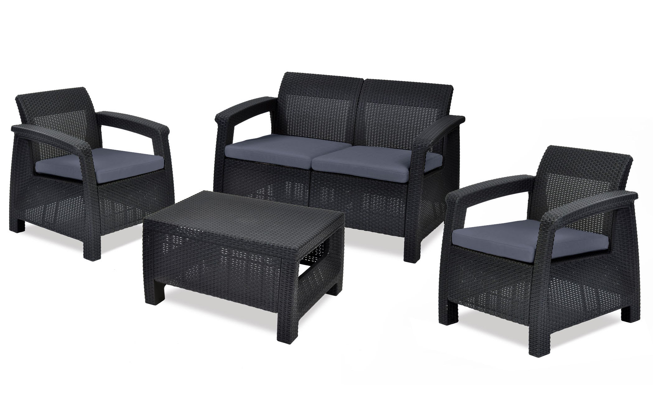 Keter Corfu 4-Piece All-Weather Resin Outdoor Patio Seating Furniture Set with Cushions,... by Keter