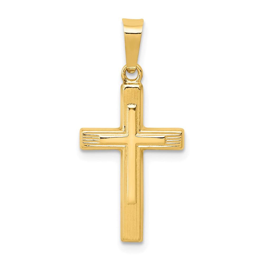 14k Yellow Gold Polished Cross Latin Pendant