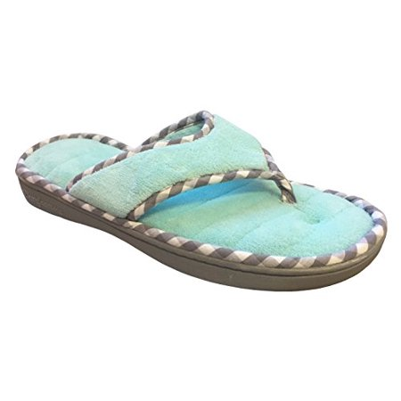 Dearfoams Women's Memory Foam Flip-Flop Terry Thong Sandals (X-Large/11-12 B(M) US, Aruba Blue)