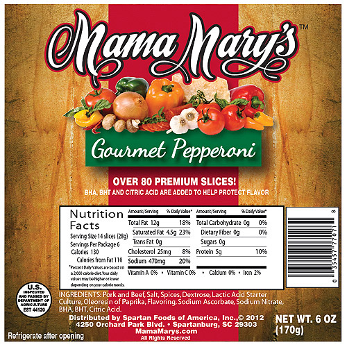 Mama Mary's Pepperoni,  6oz