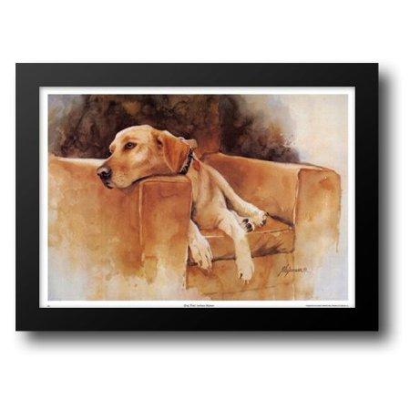 Dog Tired (Yellow Lab) 26x20 Framed Art Print by Shipman, Barbara