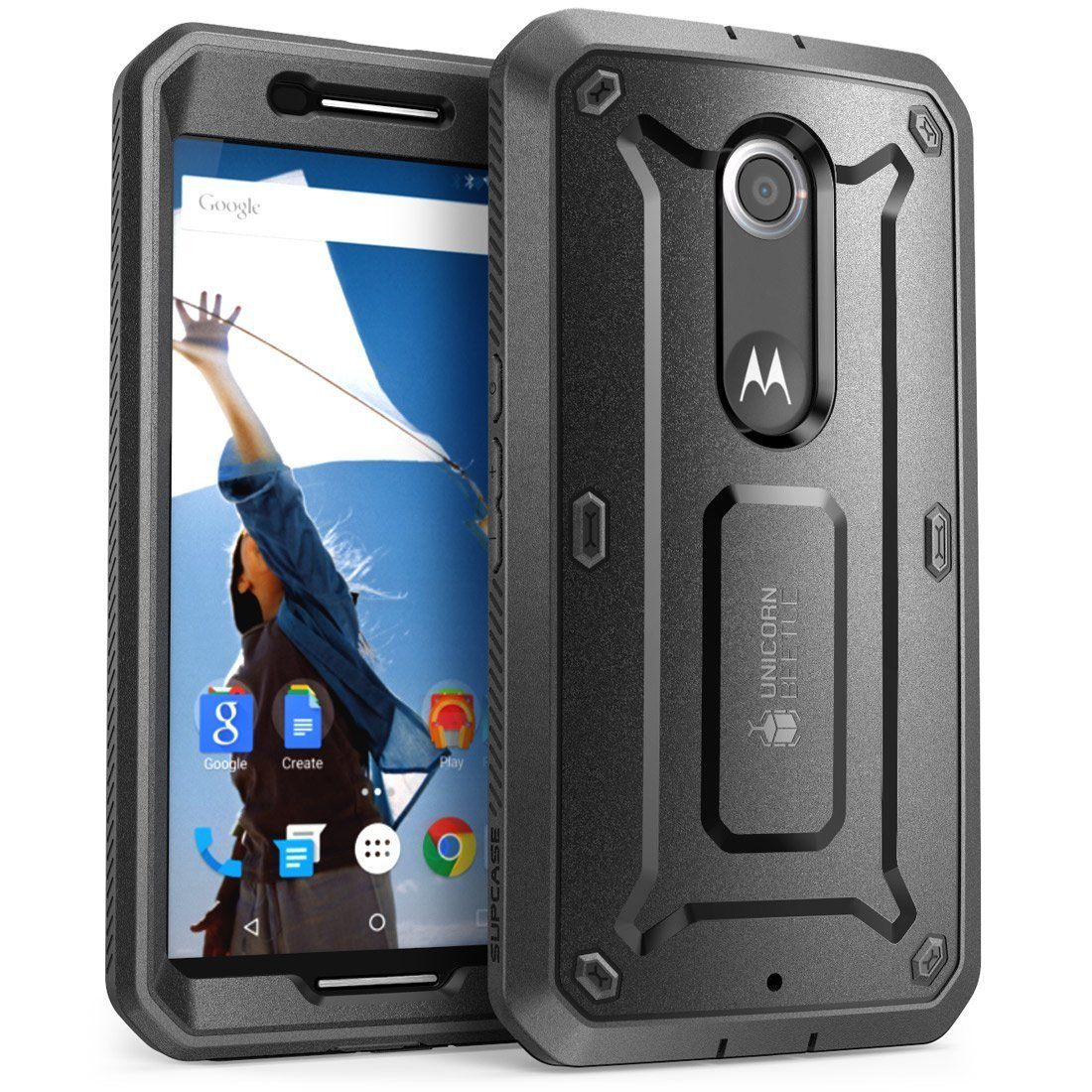 SUPCASE Google Nexus 6 Case - Unicorn Beetle Pro Series Protective Cover with Built-in Screen -Black/Black