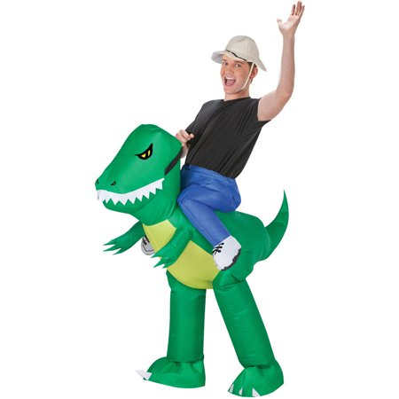 Dinosaur Rider Inflate Men's Adult Halloween Costume, One Size Fits Most - Horseback Rider For Halloween