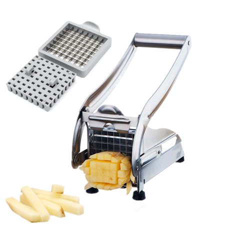 Stainless Steel Home French Fry Cutter with 2 Blades Cutter Vegetable Slicer Onion Food Chopper Dicer Potato Fries Maker for Fruit Veg Potato 36/64 Hole
