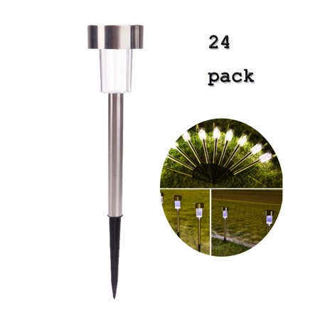 Ktaxon 24 PCS Garden Outdoor Stainless Steel LED Solar Landscape Path Lights Lamp,White & Silver ()