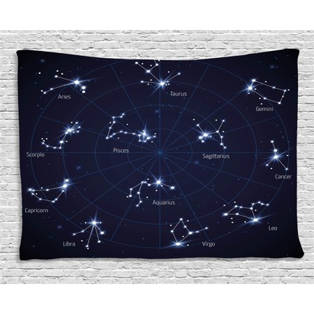 Constellation Tapestry, Sky Star Map with Geometric Circle Space Night Horoscopes Chart Dark, Wall Hanging for Bedroom Living Room Dorm Decor, 60W X 40L Inches, Dark Blue White, by Ambesonne Navy Chart Map
