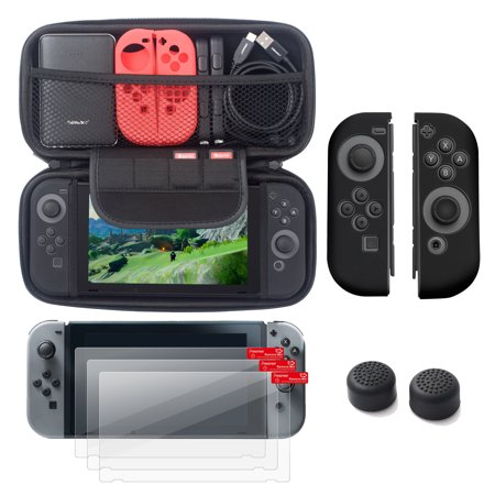 Nintendo Switch 5 Items Starter Kit  By Insten Carrying Case Hard Shell Cover   3 Pack Lcd Guard   Joy Con Controller Skin  Left Black Right Black    Joy Con Thumb Grip Stick Caps For Nintendo Switch