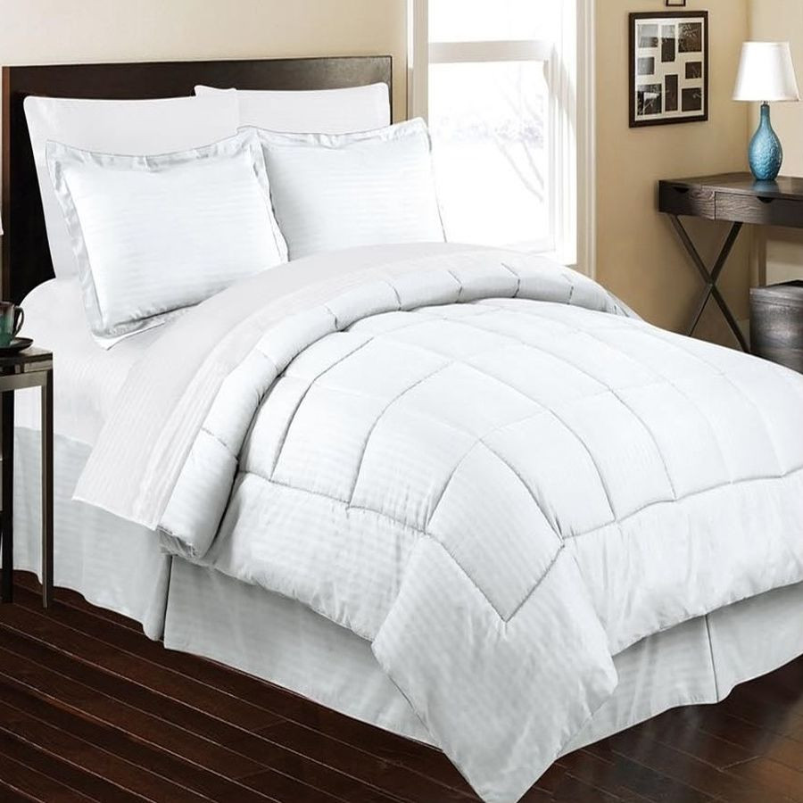 Embossed Dobby Stripe Microfiber Bed In A Bag Set Queen King - White