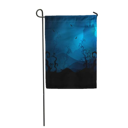 SIDONKU Haunted Scary Halloween Night Castle Bats Cartoon Helloween Autumn Garden Flag Decorative Flag House Banner 12x18 inch - Halloween Cartoons Scary
