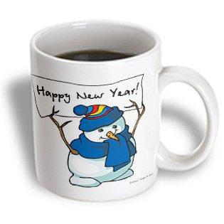 3dRose Happy New Year Snowman , Ceramic Mug, 11-ounce