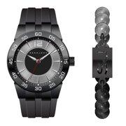 Sean John Men's Black Silicon Strap Watch and Bracelet Set SJ51028005