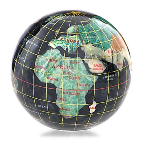 Black Opalite Gemstone Globe 3-inch Paperweight