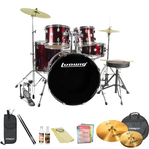 Click here to buy Ludwig Accent Fuse 5-Pc Drum Set (LC1704) Wine Red Sparkle Includes: Hardware, Throne,....