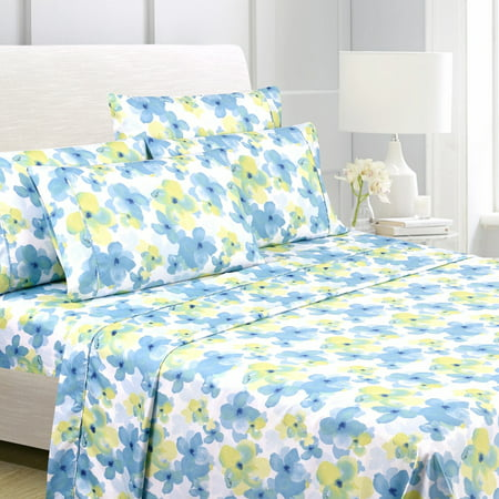 American Home Collection Ultra Soft 4-6 Piece Watercolor Floral Printed Bed Sheet (46 Piece Set)