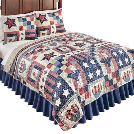 Patriotic Country Home Americana Bedding Quilt With Stars