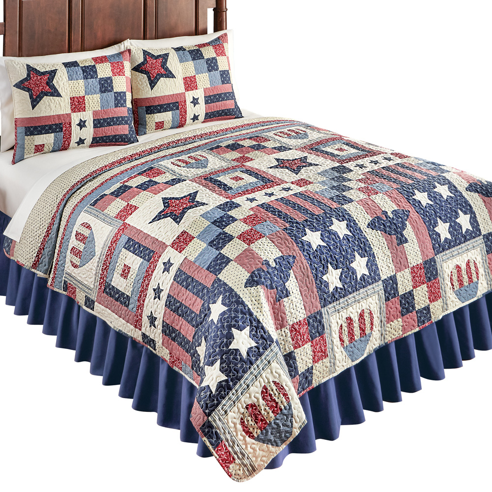 Patriotic Country Home Americana Bedding Quilt with Stars, Stripes, Hearts & Eagles, Full/Queen, Blue Multi