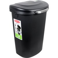 Rubbermaid, Premium Wastebasket with Touch Top, 13 gal, Plasic, Black