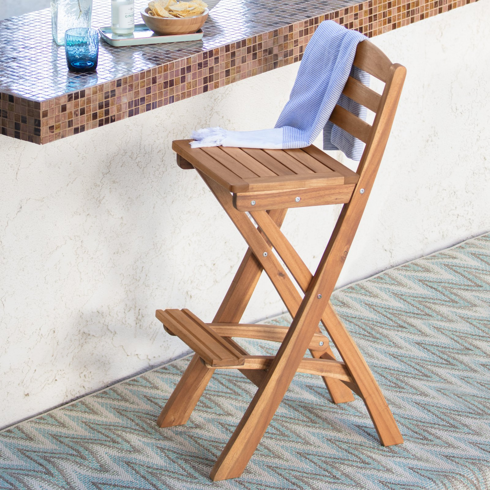 Coral Coast Bali Foldable Wood Outdoor Barstool