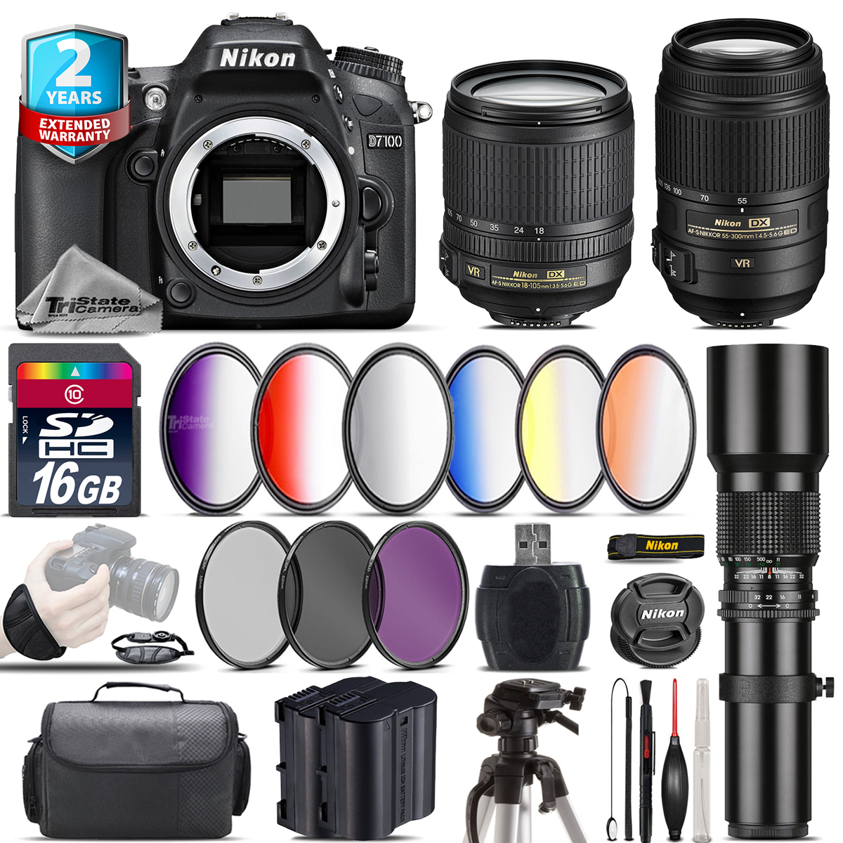 Nikon D7100 Dslr Afs 18 105mm Vr 55 250mm Stm Extra Battery Af S F 35 56g Ed Dx 16gb Kit