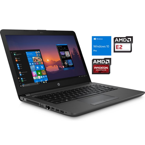 "HP 245 G6 Notebook, 14"" HD Display, AMD Dual-Core E2-9000e Upto 2.9GHz, 8GB RAM, 128GB SSD, VGA, HDMI, Card Reader, Wi-Fi, Bluetooth, Windows 10 Pro"