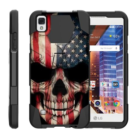 TurtleArmor ® | For LG Tribute HD | LG Volt 3 | LG X Style [Dynamic Shell] Dual Layer Hybrid Silicone Hard Shell Kickstand Case - US Flag (Skull Silicone Case)