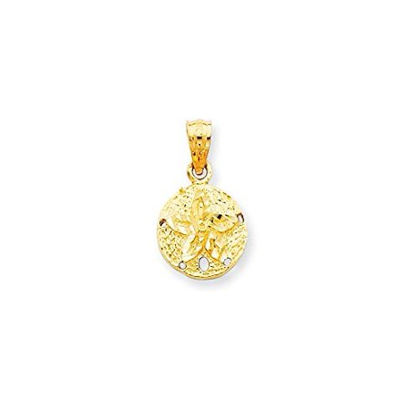 14K Yellow Gold Sand Dollar Charm Pendant