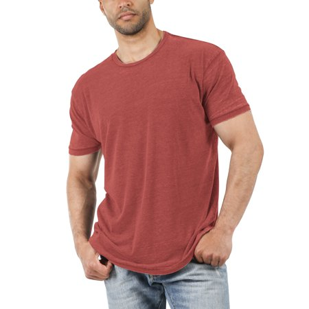Men's Casual Crewneck Tee Soft Faded Vintage Burnout T Shirt Aqua Burnout T-shirt