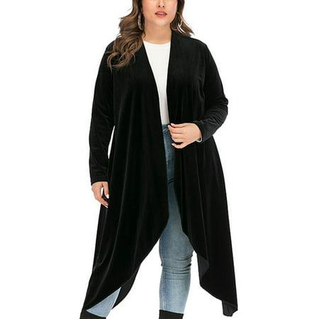 DODOING Women's Stylish Long Sleeve Waterfall Asymmetric Drape Open Front Long Maxi Cardigan Sweater Plus Size