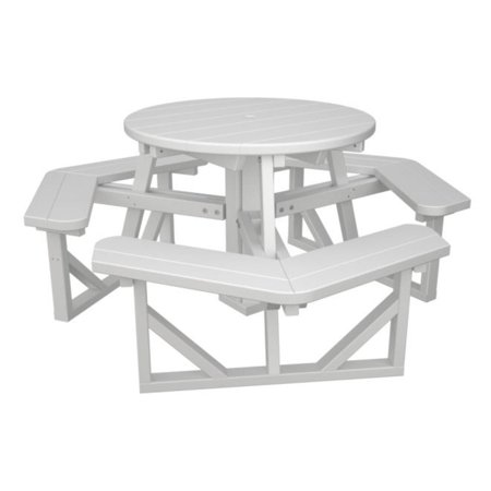 Recycled EarthFriendly Park Lane Outdoor Patio Round Picnic Table - White round picnic table