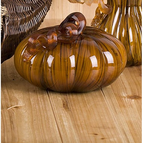 Glitzhome Handblown 2 Tone Stripe Glass Pumpkin Table Accent