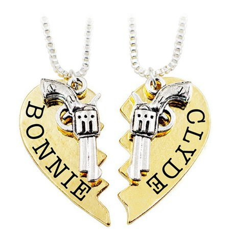 TURNTABLE LAB Bonnie Clyde Pendant Necklaces Guns Heart Friendship Best (Best Automatic Gun For A Woman)