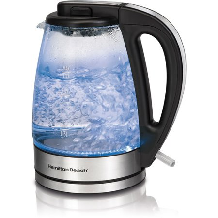 Hamilton Beach 1.7 Liter Electric Glass Kettle with Cord-Free Serving | Model# 40865 (1 Liter Electric Tea Kettle)