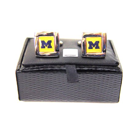 - NCAA Michigan Wolverines Square Cufflinks with Square Shape Logo Design Gift Box Set