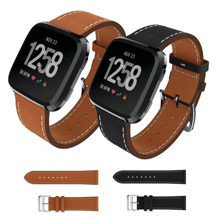 Compatible with Fitbit Versa Band, EEEKit Classic Leather Strap Watch Band Wristband Smartwatch Accessory for Fitbit Versa & Fitbit Versa Lite, 5.5