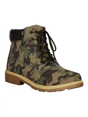 cd5030b8420cd3 Product Image Women Leatherette Round Toe Lace Up Lug Sole Work Boot 18275.  Weeboo