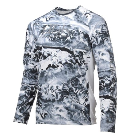 Huk Men's Pursuit Camo Vented Long Sleeve, Ice, Medium - H1200154-118-M