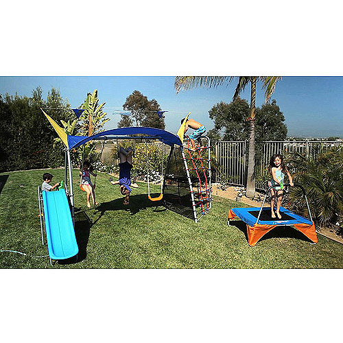 IronKids Cooling Mist Inspiration 750 Fitness Playground Metal Swing Set and UV Protective Sunshade